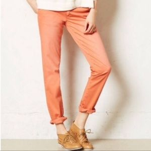 Anthro Slim Chinos in Burnt Orange Pants Ankle